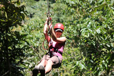 Ziplining through Costa Rica jungles.